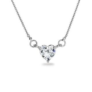 ICZ Stonez Sterling Silver 6mm Heart Choker Necklace Created with Swarovski Zirconia