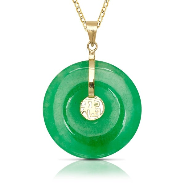jewelry yellow gold watches necklace green x jade pendant inch product circle