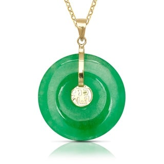14k Yellow Gold 16-inch Green Jade Circle Pendant Necklace (20mm x 30mm)