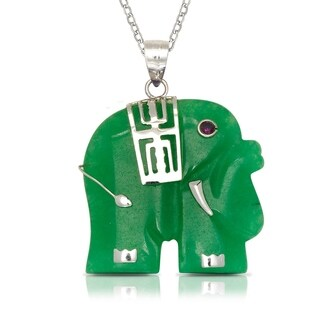 925 Sterling silver 16-inch Green Jade/Lavendar Jade/Mother of Pearl Elephant Pendant Necklace (20mm x 28mm)