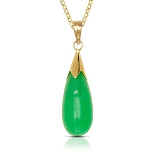 14k Yellow Gold 16 Inch Green Jade Teardrop Dangle Pendant Necklace 5mm X 26mm