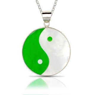925 Sterling silver 16-inch Jade/MOP Ying Yang Circle Pendant Necklace (25mm x 32mm) - Green