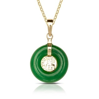 14k Yellow Gold 16-inch Green Jade Small Circle Dangle Pendant Necklace (12mm x 20mm)