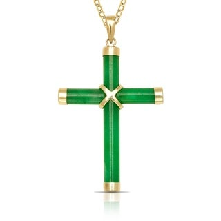 14k Yellow Gold 16-inch Green Jade Cross Pendant Necklace (20mm x 35mm)
