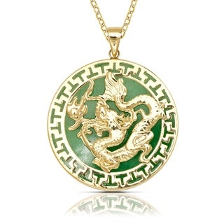 14k Yellow Gold 16-inch Green Jade Large Dragon Circle Pendant Necklace (26mm x 32mm)