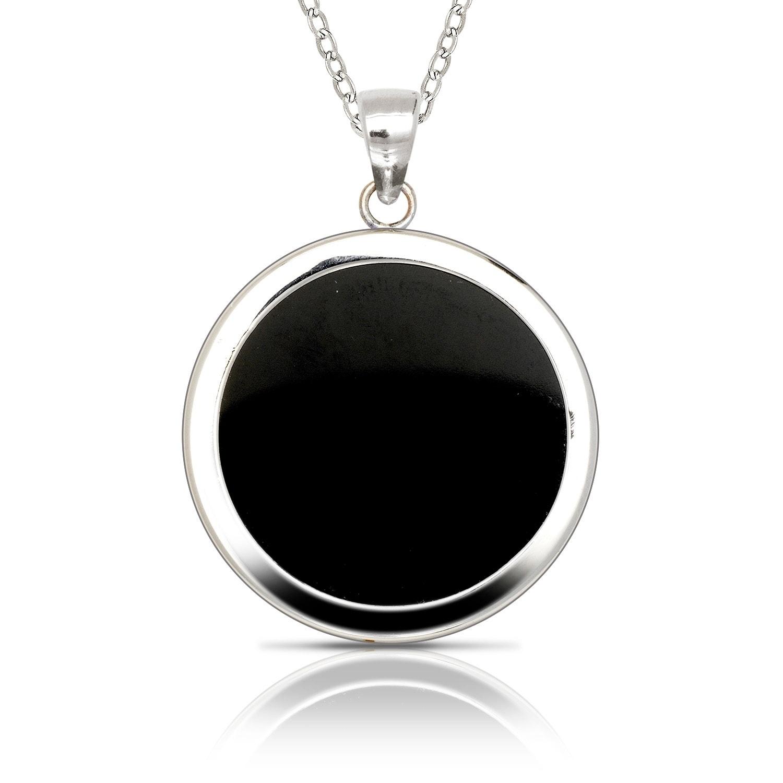 "Brand New Sterling Silver Genuine Black Onyx Teardrop Pendant w//18/"" Leather Cord"