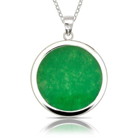 925 Sterling silver 16-inch Green Jade/Lavendar Jade/Black Onyx Besel Circle Pendant Necklace (25mm x 32mm)