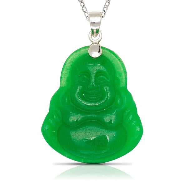 925 Sterling silver 16-inch Green Jade/Lavendar Jade/Black Onyx/ Brown Jade Carved Buddha Pendant Necklace (20mm x 30mm)