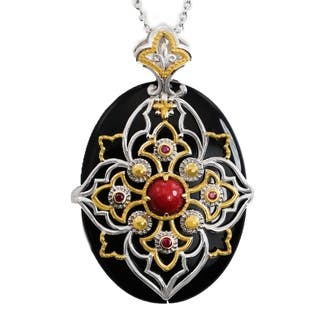 Michael Valitutti Palladium Silver Black Onyx, Red Jade & Ruby Pendant|https://ak1.ostkcdn.com/images/products/18793864/P24862704.jpg?impolicy=medium