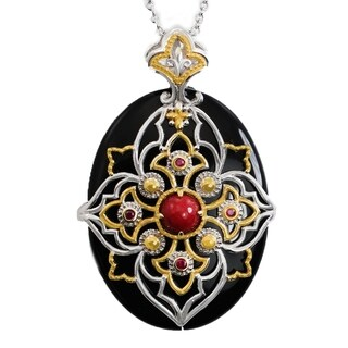 Michael Valitutti Palladium Silver Black Onyx, Red Jade & Ruby Pendant