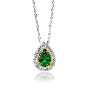 Platinum 4.86ct TGW Tsavorite and White and Yellow Diamond One-of-a-Kind Necklace