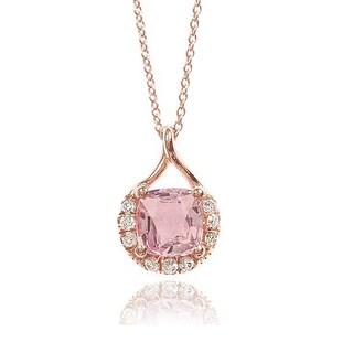 14K Rose Gold 1.62ct TGW Padparadscha Sapphire and Diamond One-of-a-Kind Necklace