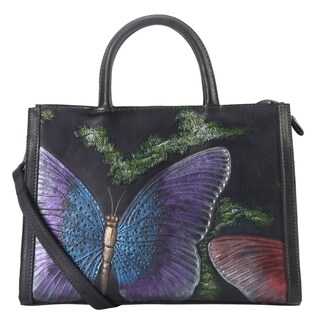 Diophy Genuine Leather Cameo Butterfly Large Top Handle Handbag