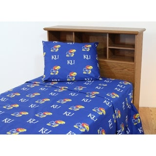 Kansas Jayhawks 100% Cotton Sheet Set