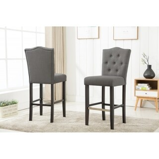 Best Quality Furniture Grey Fabric Button Tufted Bar Stool (Set of 2)