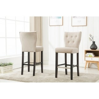 Best Quality Furniture Beige Fabric Button Tufted Bar Stool (Set of 2)