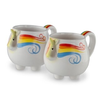 2 Pack Unicorn Whimsical Rainbow Coffee Mug 12 OZ Ceramic Mug