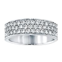 14k Gold 1ct TDW Diamond 3-row Anniversary Band (G-H, SI1-SI2)