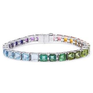 18K White Gold 40.72ct TGW Multi-Gemstone Rainbow Tennis Bracelet
