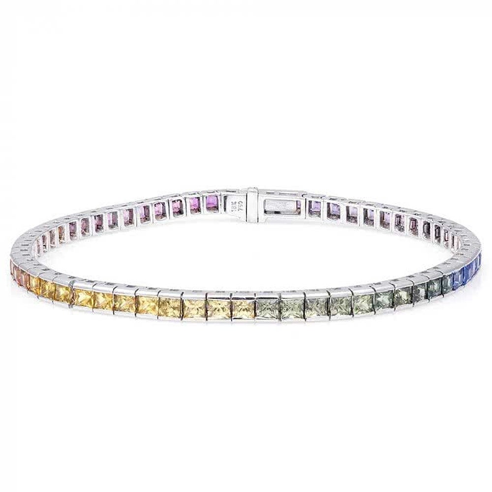 18K White Gold 7.46ct TGW Rainbow-colored Sapphire and Wh...