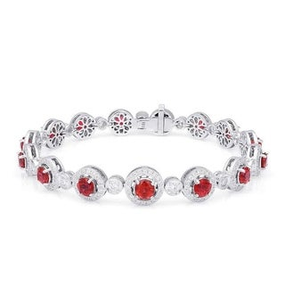 18K White Gold 7.65ct TGW Red Spinel and White Diamond Bracelet