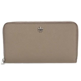 Tory Burch Robinson French Grey Zip Continetal Wallet
