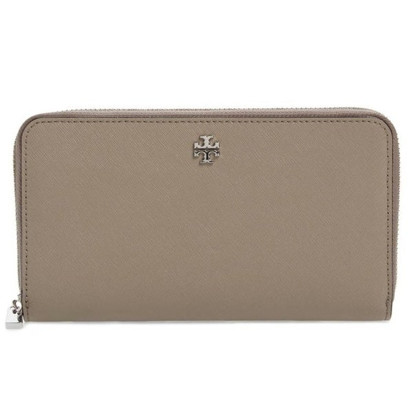 e2f4b03041c Shop Tory Burch Robinson French Grey Zip Continetal Wallet - Free ...