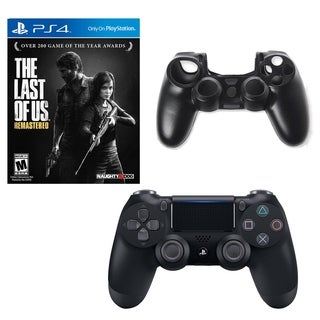 DualShock 4 Controller with Last of Us Game and Silicone Sleeve