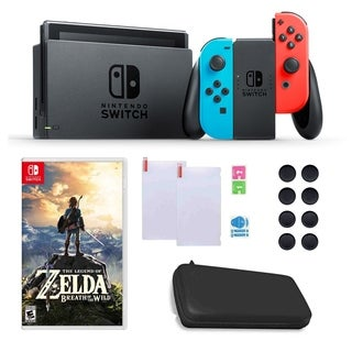 Nintendo Switch in Blue and Red with Zelda Game, Silicone Sleeves and Accessories Bundle