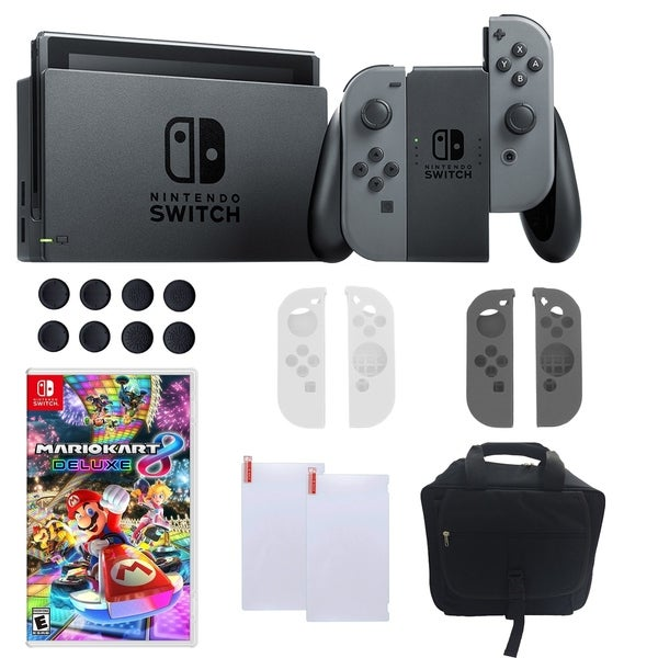 Shop Nintendo Switch in Gray with Mario Kart 8 Deluxe and Accessories Bundle - Free Shipping Today - Overstock - 18794443