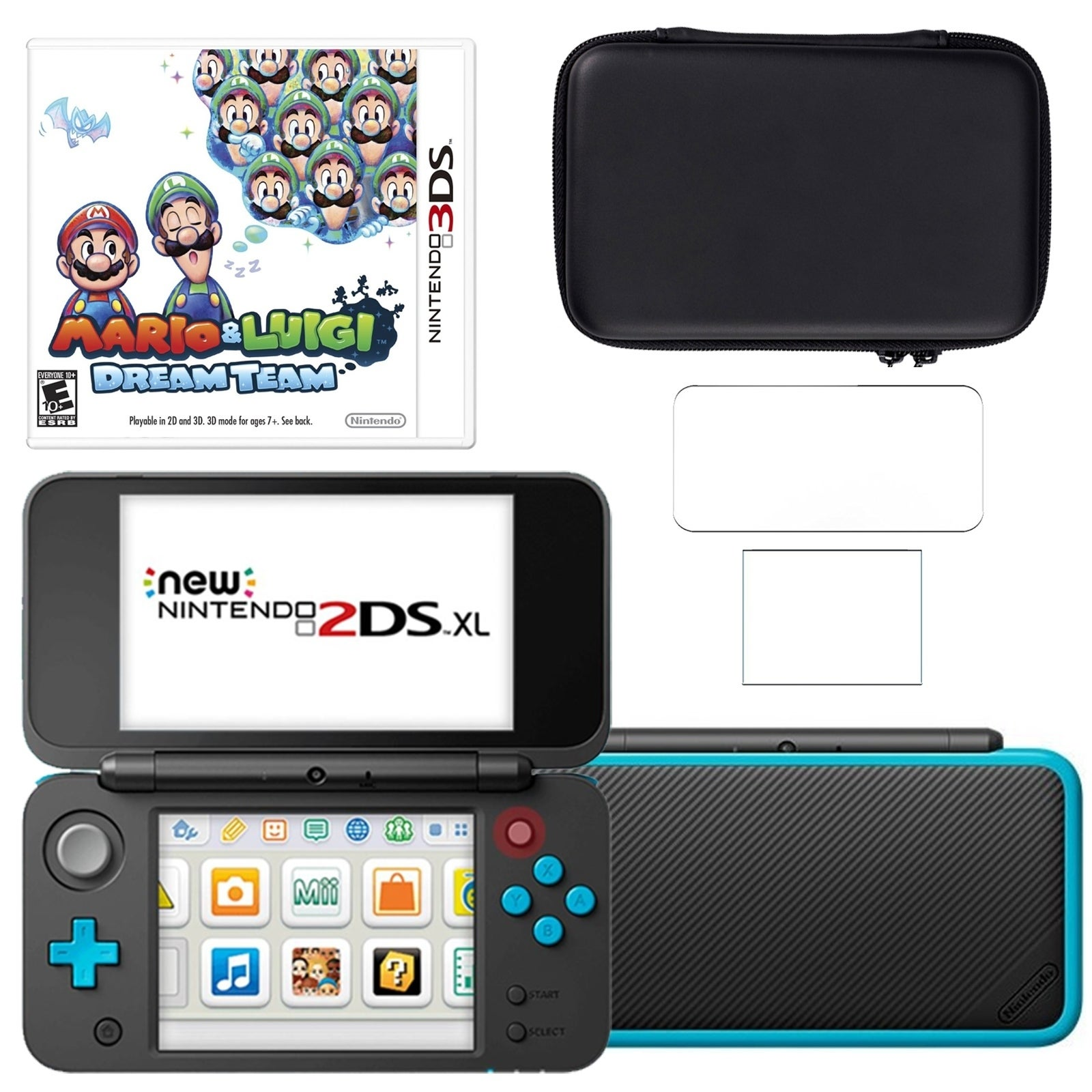 Shop New Nintendo 2dsxl With Mario And Luigi Dream Team Carry Case And Screen Protector Overstock 18794445