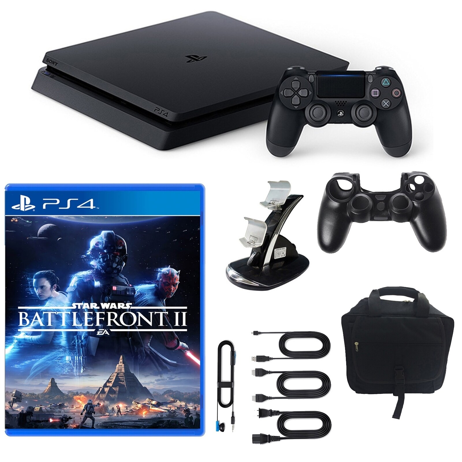 Sony PlayStation 4 Slim Star Wars Battlefront 2 1TB Core Console and Accessories, Blue storm #943103401M
