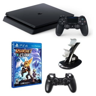 PlayStation 4 1TB Core Console with Ratchet and Clank Game, Dual Charger and Silicone Sleeve for Controller