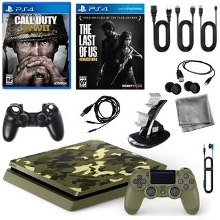 Playstation 4 1TB LE COD WWII Console with Last of Us Game and 9 in 1 Accessories Kit