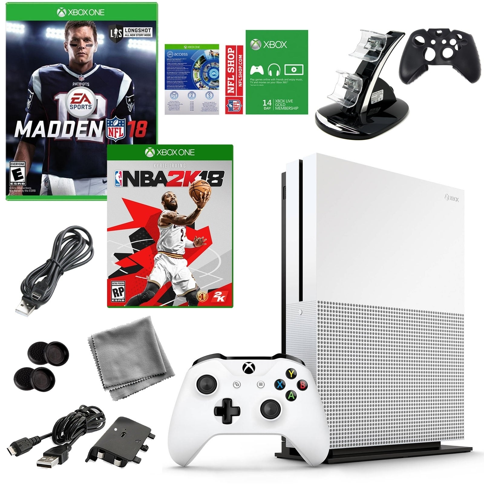Xbox One Madden NFL 18 500GB Console with NBA 2K18 Game and Accessories Bundle