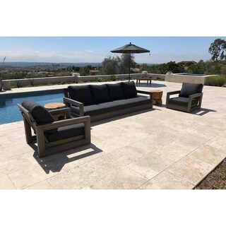 Ventura Weathered Grey Sunbrella Teak 3-piece Seating Group