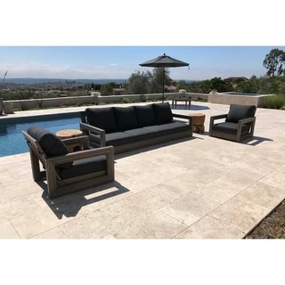 Ventura Weathered Grey Sunbrella Teak 3 Piece Seating Group