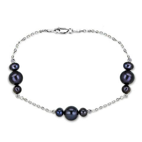 DaVonna Sterling Silver 6-10mm Black Freshwater Cultured Pearl stations chain Bracelet, 7.5 inch + 1 inch Extension.