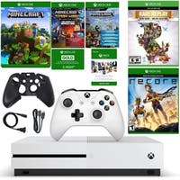 XBox One S 500GB Minecraft Adventure Console with Recore and Rare Replay with Silicone Sleeve