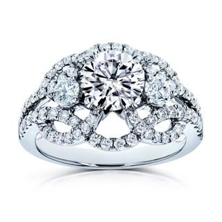 Annello By Kobelli 14k White Gold 1 3 4ct TGW Moissanite DEF And Diamond Celtic Knot Filigree Ring
