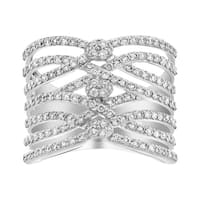 14K White Gold 1 1/3ct 7 Diamond Row Wide Band Ring