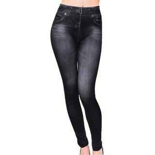Faux Black Jean Leggings - Denim Print Ladies Jeggings (Large)