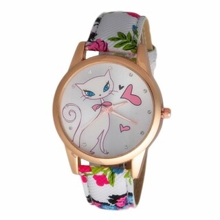 Cat Heart Dial Watch Faux Leather Printed Band - Multi