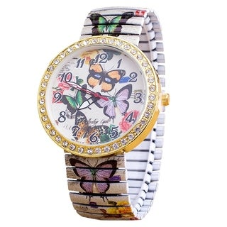 Butterfly Stretch Band Watch Easy Reader Crystal Dial Printed Band - Multi