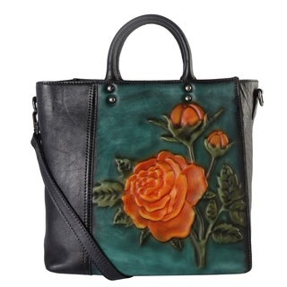 Diophy Cameo Two-tone Leather Tote