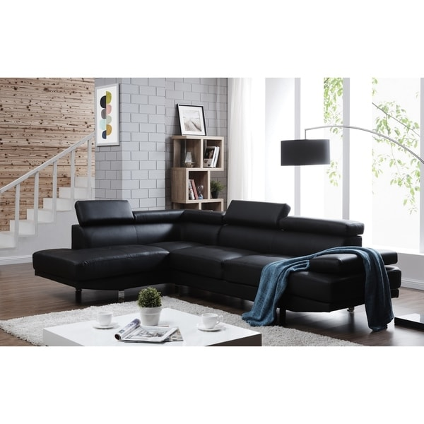 Shop Debbie Faux Leather Left Facing Sectional Sofa On Sale Free