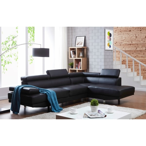 Debbie Faux Leather Right-Facing Sectional Sofa