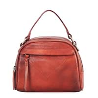 Diophy Genuine Leather Half-moon Small Top Handle Handbag