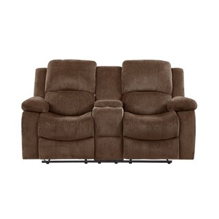 Global Furniture Coffee Brown Chenille Console Reclining Loveseat