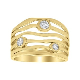 14K Yellow Gold 1/3ct Multi Wave Bezel Set Ring - White